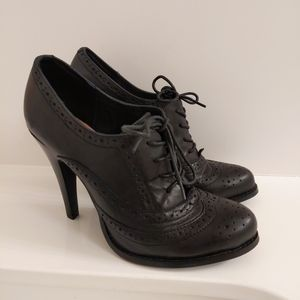 Aldo Leather Oxford Style Lace-up Ankle Booties